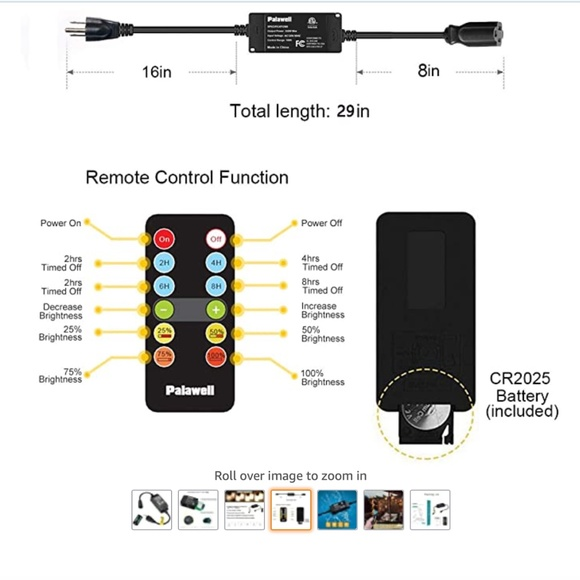 100FT Dimmer Switch Lights Timer Waterproof Outdoor Wireless Remote Control Kit,